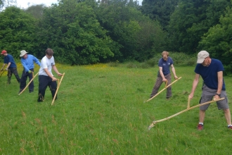 Adam Machin with volunteer scything group