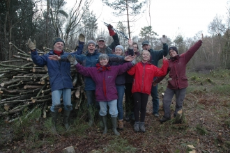 Happy volunteers in delamere